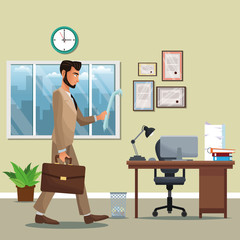 man business office place desk chair potted plant diploma window clock vector illustration