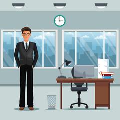man workplace office desk chair clock windows vector illustration eps 10