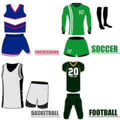 Set of different sport uniforms, Vector illustration