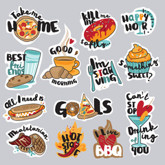 Set of funny stickers for social network. Food and drink stickers for mobile messages, chat, social media, online communication, networking, web design.