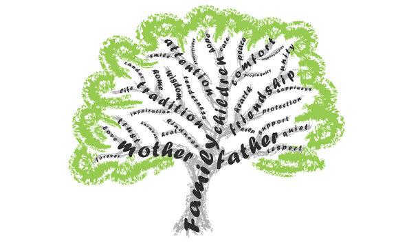 Tree from family values words