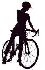 Foto op Plexiglas Art Studio Silhouette of woman with a bicycle, isolated on a white