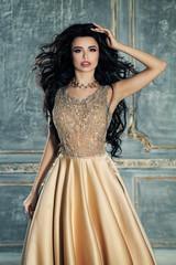 Elegant Woman Fashion Model Wearing Long Evening Gown