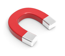 3D Isolated Red White Magnet Attraction Illustration