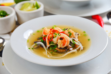 Thai spicy seafood soup