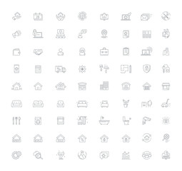 Real Estate Management Vector Line icon set
