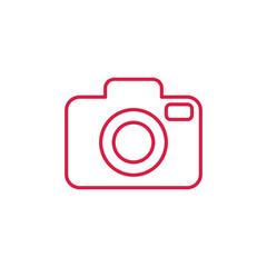 camera media photo digital red on white line icon