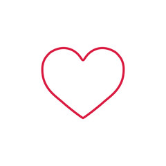 heart love romantic outline red on white line icon