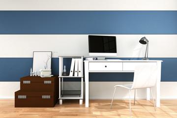 3D Rendering : illustration of modern interior Creative designer office desktop with PC computer.working place of graphic design.close-up.Mock up.light from outside. frame mock up.
