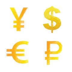 Polygonal ruble yen dollar euro signs