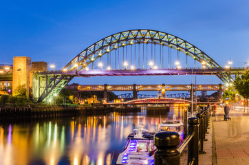Bridges over the River Tyne in Newcastle, UK, at Twilight