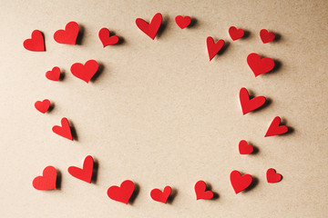 Assorted small red paper hearts