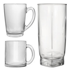 Two opaque glass cups and one opaque glass for juice on white background