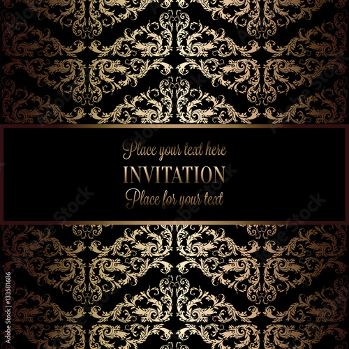 quotabstract background with antique luxury black and gold