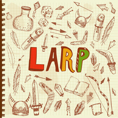 vector hand drawn illustration for LARP theme, printed goods, social networks, web, media, role playing and historical reconstruction.