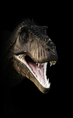 A Tyrannosaurus Rex head piercing through the darkness. 3d rendering