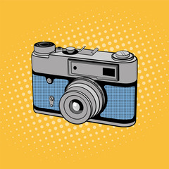 Retro photo camera. Comic background in pop art style