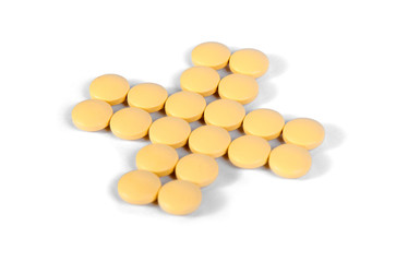Medicine pills on a white background
