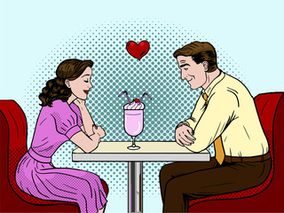 Couple on a date in restaurant. Pop art style vector illustration.