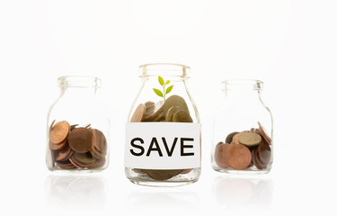 save message on glass bottles, plant and coins, investment and business concepts
