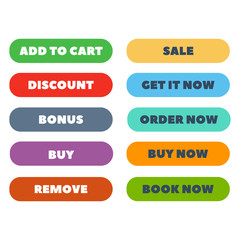 Shop buttons vector set.