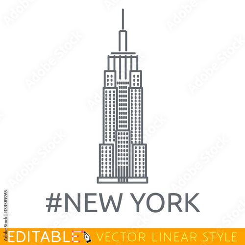 new york city empire state building editable line icon stock