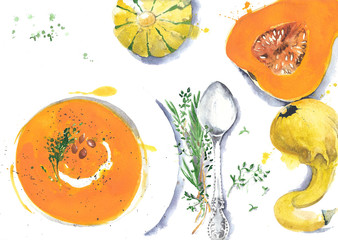Watercolor butternut squash soup food illustration isolated on white background