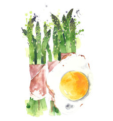 Asparagus wrapped in prosciutto with fried egg watercolor painting illustration isolated on white background