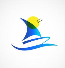 Boat waves beach logo