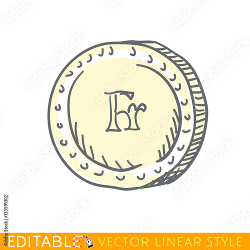 French Franc Doodle Style International Currency Symbol Coins