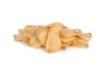 fried garlic chips on white background