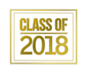 class of 2018 gold sign illustration design