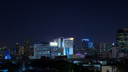Business Building Bangkok city area at night life, panorama view
