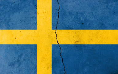 A crack in the wall. Flag of Sweden