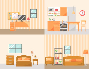 Set of Colorful Room Interiors with Furniture Icons: Living Room, Bedroom, Kitchen and Workplace.