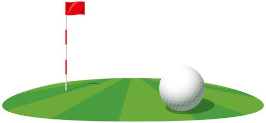 ゴルフボールとピンのイメージイラスト