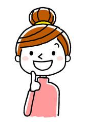 若い女性:笑顔で上を見上げる、思い浮かべる、考える