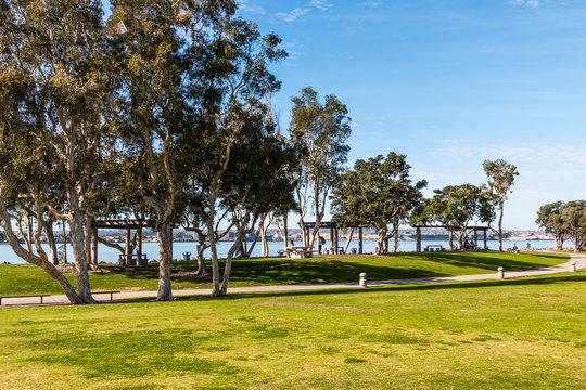 Pathway through Embarcadero Marina Park North near Seaport Village in San Diego, California.