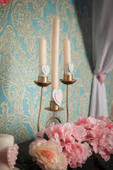 romantic interior, candles with hearts