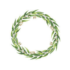 Watercolor hand painted round wreath with eucalyptus leaves and branches.