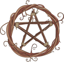 Vine wreath and pentagram