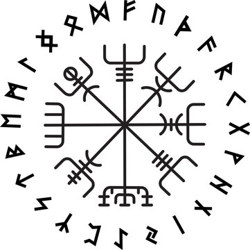 Vegvisir, the Magic Navigation Compass of ancient Icelandic Vikings with scandinavian runes