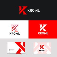 Vector K logo letter sign company icon with brand business card