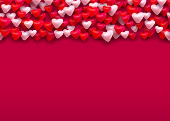 Vector red and pink hearts horisontal seamless pattern romantic valentines day