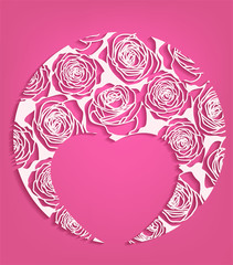 Vector valentines day cut out white paper heart and roses template greeting card with empty place for text