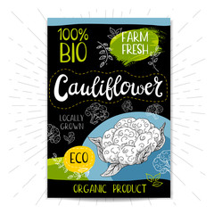Colorful label in sketch style, food, spices, black background. Cauliflower. Vegetables. Bio, eco, farm, fresh. locally grown. Hand drawn vector illustration.