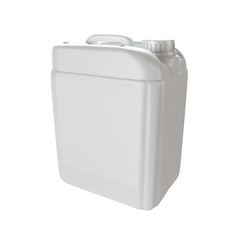 White plastic isolated jerrycan.