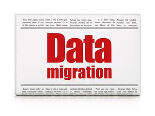 Information concept: newspaper headline Data Migration