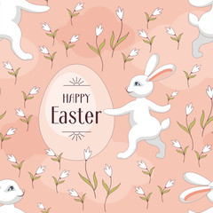 Happy Easter seamless pattern. The image of Easter eggs and white rabbits on a pink background. Vector illustration.