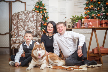 mother, father and little boy with Husky background Christmas tree